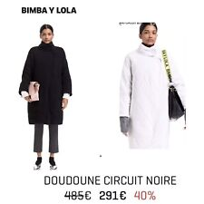 $500 BIMBA Y LOLA DOWN PADDED QUILTED Long COAT Black M (Oversized Would fit L)