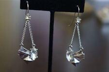 Crystal Antique Silver Drop Earrings New Erickson Beamon Rocks Goth Girl