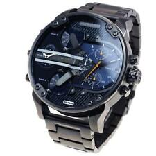 NEW DIESEL DZ7331 MR. DADDY 2.0 GUNMETAL BLUE DENIM BRACELET MENS WATCH UK