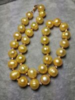 """18"""" Baroque  AAA 10-11MM golden SOUTH SEA NATURAL PEARL NECKLACE 14K GOLD CLASP"""