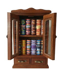 beautiful wooden n glass 12-book armoire miniature books 2 doors & drawers