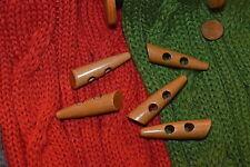 Große Duffle Knebel Holz Knopf Knöpfe 5cm x 1,3cm 5x1,3cm 50x13mm 5 Stück NEU