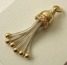 HEAVY GENUINE 9ct YELLOW GOLD / SILVER VICTORIAN TASSEL PENDANT / NECKLACE