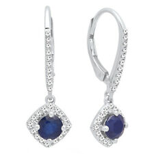 14k White Gold Round Blue Sapphire & White Diamond Ladies Hoop Earrings