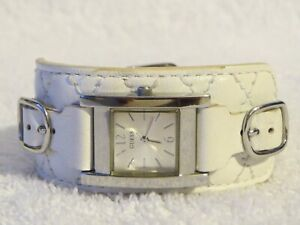 Guess Watch Silver-Tone with Genuine White Leather Band