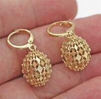 18K Gold Filled Earrings Rhombus Hollow Sphere Dangle Fashion Womens Stud Hoop