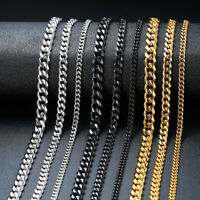 3-7MM Cuban Curb Flat Link Chain Men Necklace Chain Stainless Steel 18 20 22""