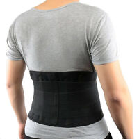 Adjustable Double Pull Lumbar Brace Back Support Lower Black Waist Belt Black