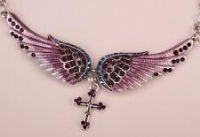 """biker jewelry silver purple Nc01 18""""+2"""" Angel wing cross choker necklace women"""