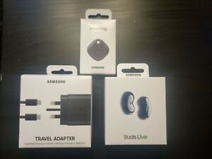 SAMSUNG Galaxy Accessories, S21, Charger 45w Travel Adapter/Buds Live/Smart Tag