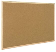 Cork Notice Board Wood Frame Memo Message - Includes Push Pins & Hangers 60X40CM