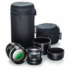 Olympus Portrait Lens Kit Bundle (45mm f1.8, ED 75mm f1.8, Lens Hoods & Cases)