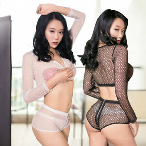 Women Fishnet Zipper Long Sleeve Top Zipped Open Crotch Shorts Clubwear Set