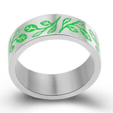 Size 5-15 8MM Stainless Steel Ring Green Tree of Life Leaf Children Kid Birthday