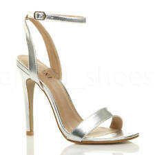 WOMENS LADIES HIGH HEEL ANKLE STRAP BARELY THERE STRAPPY SANDALS SHOES SIZE