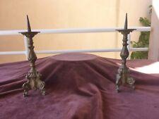 paire de piques cierges d'autel,H 26cm,poids 600g pièce,bronze et fer