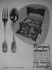 PUBLICITÉ 1951 VOTRE MÉNAGÈRE CHRISTOFLE COFFRET - ADVERTISING