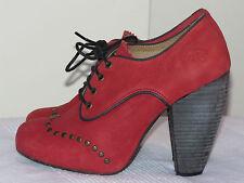 Fly London 'Noha' Diseñador de Cuero Rojo Zapatos Plataforma Tacones UK 5 EUR 38 RRP £ 95