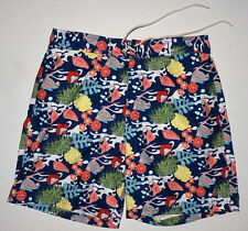 Mens L 34 36 Nautica Mesh Lined Board Shorts Ocean Fauna Boardshorts Swim Trunks