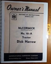IH International McCormick-Deering 10-A Tractor Disk Harrow Owner Manual R4 '49