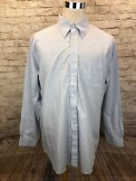 Brooks Brothers 346 Slim Fit Non Iron Blue Striped Mens Button Down L/S 17.5 6/7