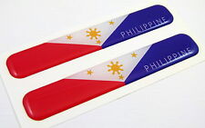 "Philippines Flag Domed Decal Emblem Resin car stickers 5""x 0.82"" 2pc."
