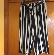New Look Navy And White Striped Culottes Size 16