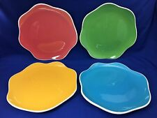 222 Fifth Wave Dinner Plates Blue Green Red Yellow with Ruffled Edge Set of 4