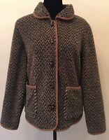 Orvis Womens Cardigan Sweatercoat Fleece Jacket Sz Medium Brown Toggle Closure