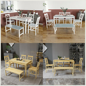 Dining Table and Chairs Bench Set 6 Seat Solid Wooden Kitchen Furniture 2 Colour