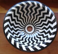 Moroccan small black + white zigzags hand painted ceramic round sink wash basin