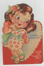 Vintage Usa Hawaii Hula Girl Fold Down Valentine's Day Card old ephemera