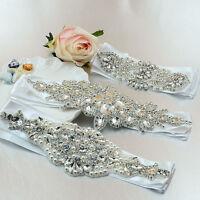 Crystal Rhinestone Waistband Beaded Belt Wedding Bridal Dress Sash Hair Headband
