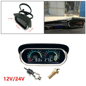 Car Vehicle LCD Digital Water Temperature Oil Pressure Gauge Panel With Sensor