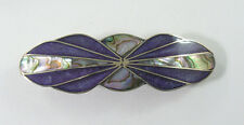 """Alpaca hair clip / Barette with abalone shell inlay purple color  3 1/2"""" long"""