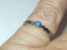 Sterling Silver Turquoise Wedding Friend Ring (White Gold) Rhodium Plated S6.75