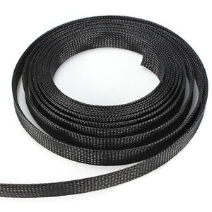 10M Black Braided Sleeve Sleeving Cable Harness Sheathing Expanding 6mm to 15mm