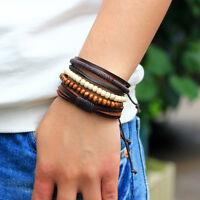 4PCS/set Women/Men's Fashion Braided Adjustable Leather Bracelet Punk Jewelry