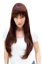 Perruque pour Femme Rouge Brun avec Mêches Blondes Frange Longue Raie Lisse 3111
