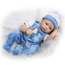 "22"" Lifelike Reborn Boy Dolls Silicone Vinyl Handmade Baby+Magnetic Pacifier"