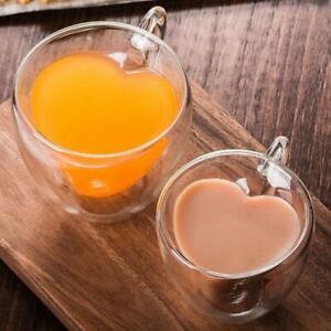 Double Wall Glass LOVE HEART Tea Coffee Cup Heat-resistant Clear Glass Mug 240ml