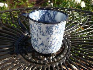 ANTIQUE USA PORCELAIN ENAMEL LIGHT BLUE & WHITE GRANITEWARE HANDLED CUP MUG
