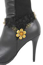 Punk Women Fashion Boot Chain Bracelet Gold Metal Flower Shoe Black Lace Charms