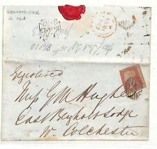WW10 1858 GB London Essex EL to *East Bergholt Lodge* Note Red *COLCHESTER* CDS