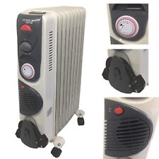 Portable 9 Fin 2000w Electric Oil Filled Radiator Heater Fan & Thermostat White