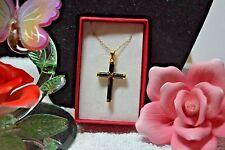 Treasures from the Orient Black Jade Cross Pendant 14K YG in 925 SS TGW 20.00 Ct
