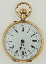 Antique Remontoir Cylindre Huit Rubis 14K Yellow Gold Small Pocket Watch