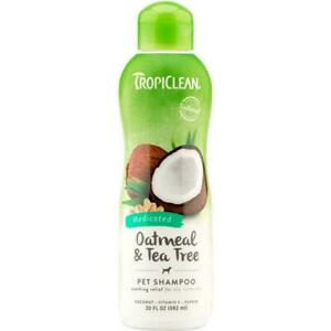TropiClean Oatmeal & Tea Tree Pet Shampoo 592ml Medicated Soothes Itchy Dry Skin