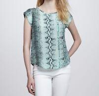 Joie Rancher 100% Silk Top Pocket Tee Size XS Green Snake Print Keyhole Back