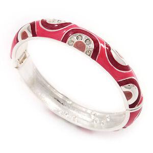 Pink Crystal Enamel Hinged Bangle Bracelet In Rhodium Plated Metal - 19cm Length